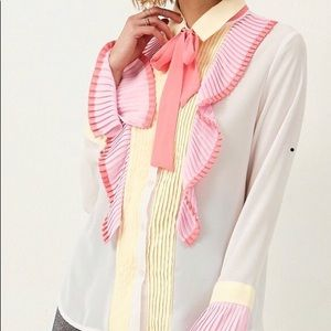 Anna Colorful Ruffle Blouse